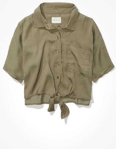 AE Silky Short-Sleeve Button-Up Shirt