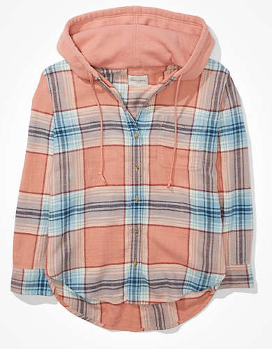 AE Plaid Hooded Flannel Shirt