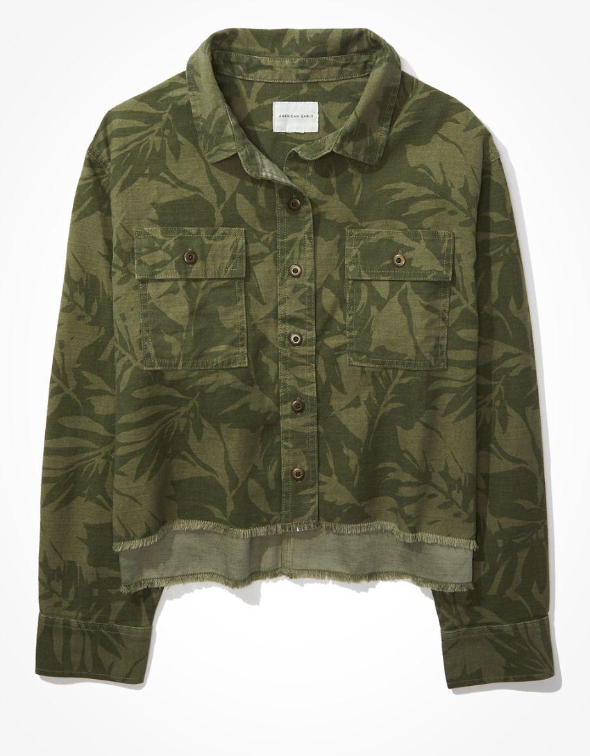 AE Cropped Jungle Military Shacket