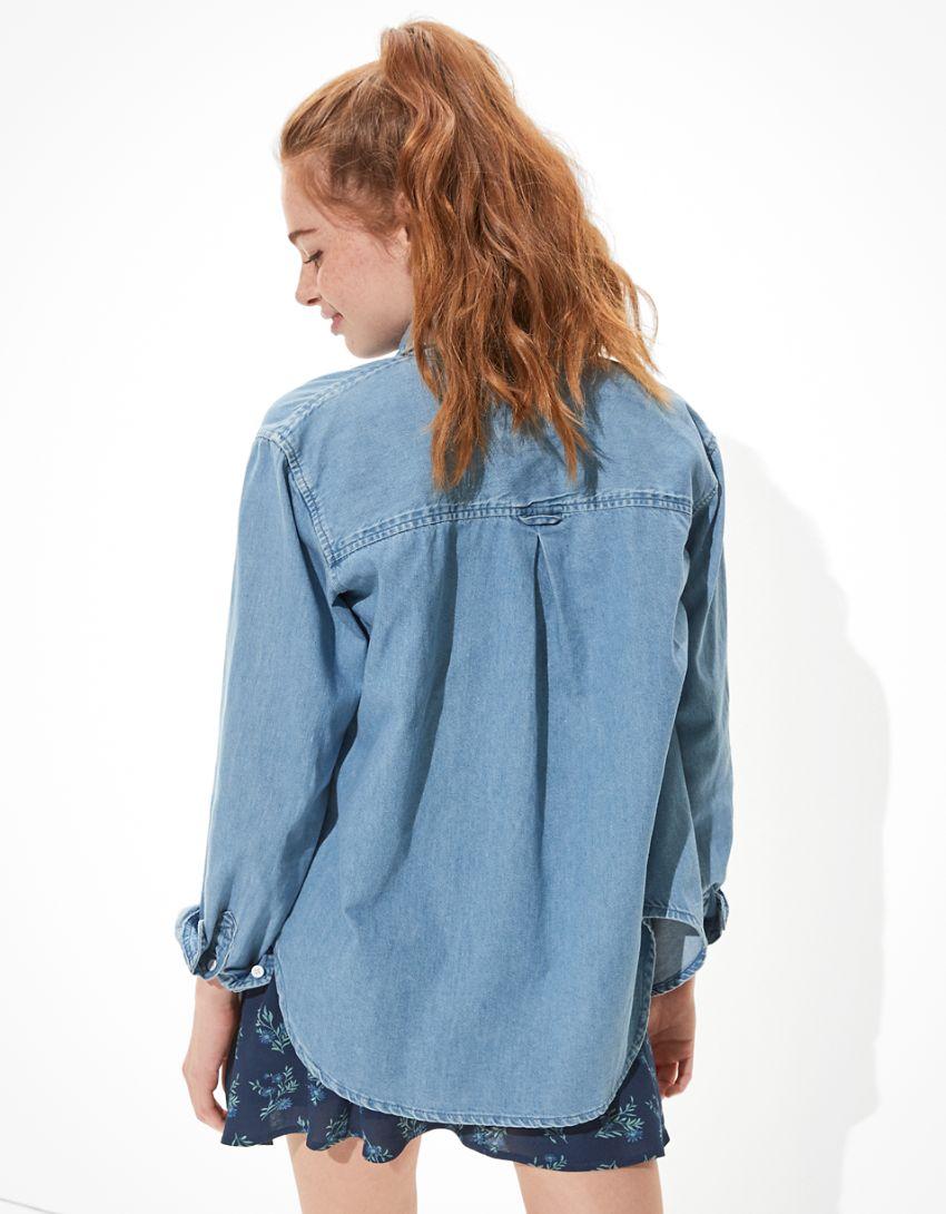 AE Oversized Denim Button-Up Shirt
