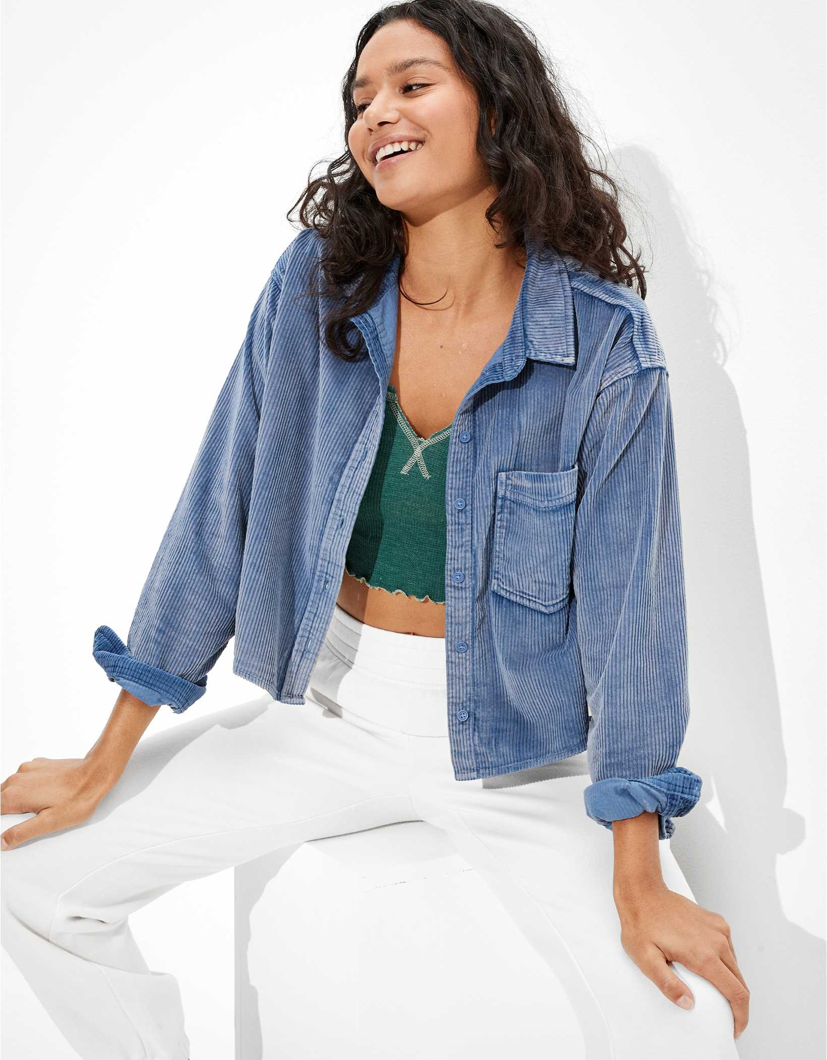 AE Cropped Corduroy Button-Up Shirt