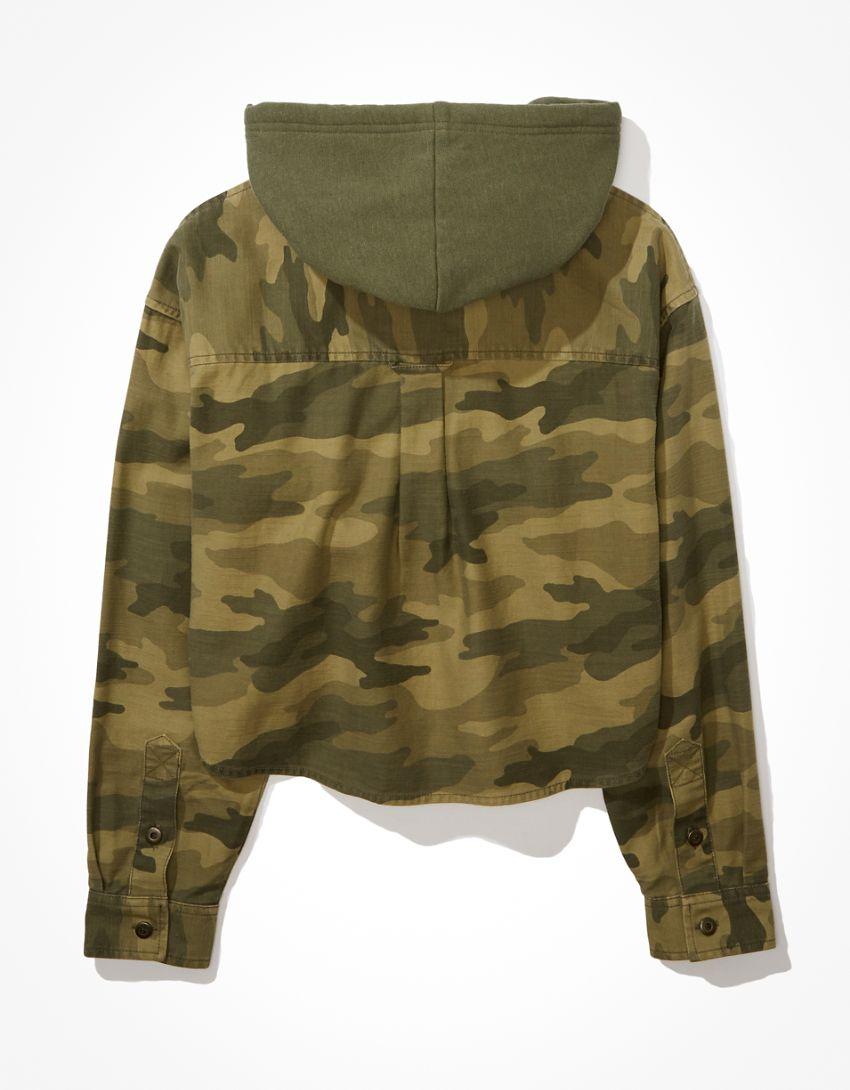 AE Camo Cropped Hooded Shirt