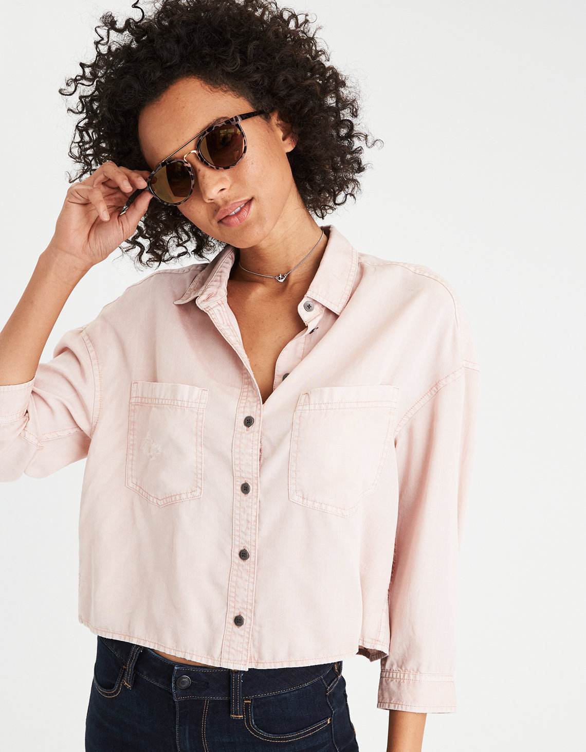 AE Cropped Button-Down Shirt, Pink | American Eagle Outfitters