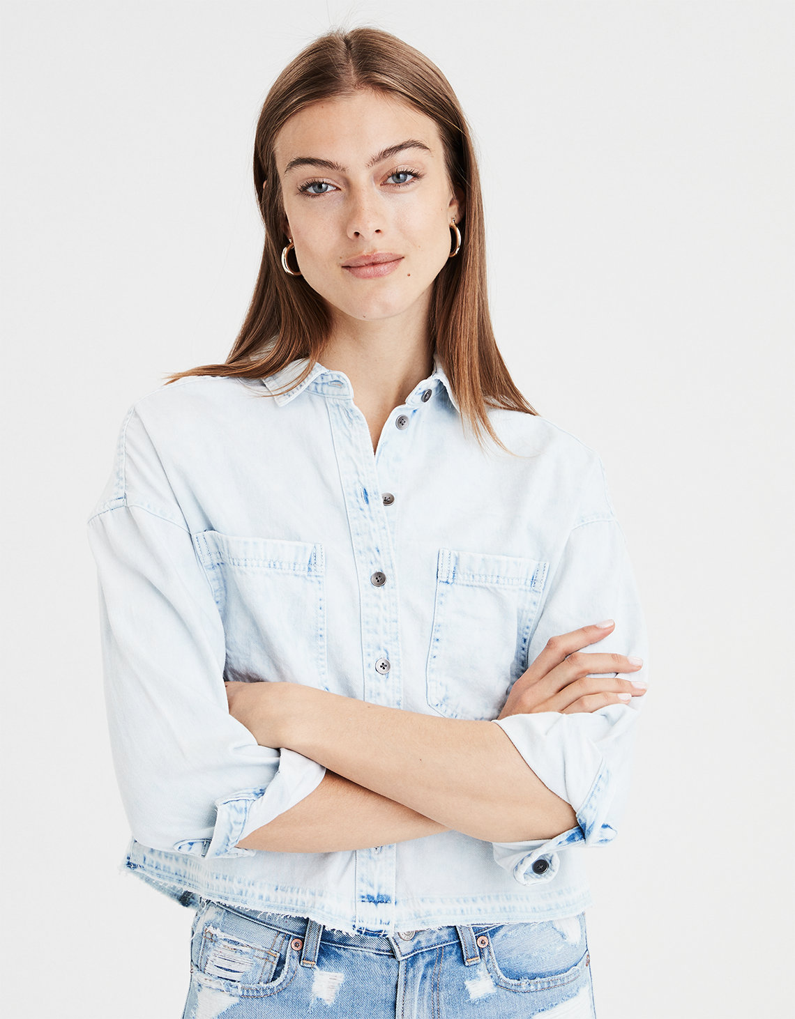 b4c83a79c6b AE Cropped Denim BUTTON-DOWN SHIRT. Placeholder image. Product Image