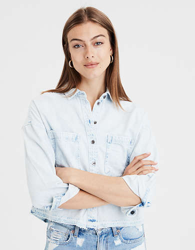 AE EMBROIDERED Crop BUTTON-DOWN SHIRT