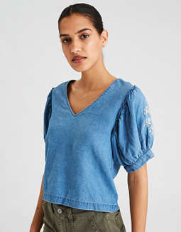 Ae Puff Sleeve Corset Back Top by American Eagle Outfitters