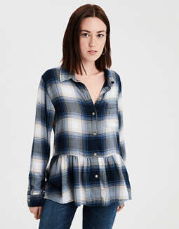 Ae Plaid Peplum Top by American Eagle Outfitters