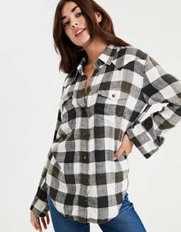 AE Oversized Western Plaid Top