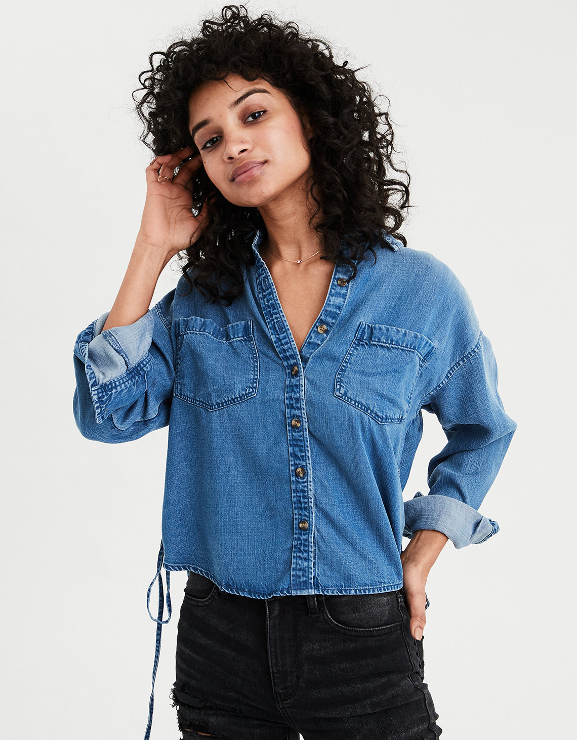 893d4ee4784 AE Cropped Denim Shirt. Placeholder image. Product Image