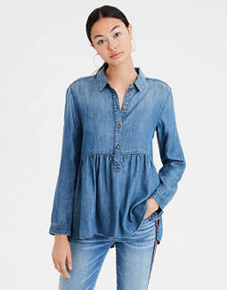 Ae Denim Peplum Top by American Eagle Outfitters