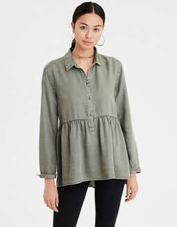 Ae Half Button Peplum Top by American Eagle Outfitters