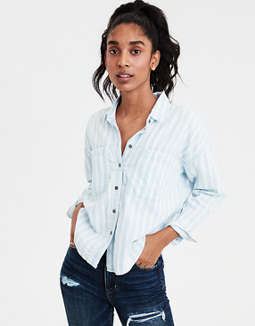 Ae Striped Denim Shirt Jacket by American Eagle Outfitters