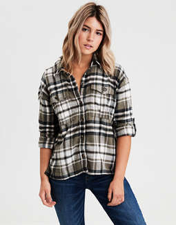 AE Workwear Plaid Long Sleeve Button Down Shirt