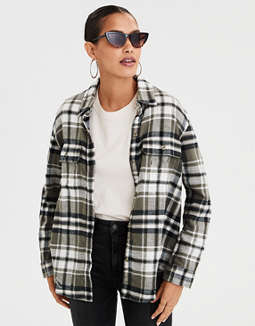AE Oversized Plaid Button-Down Shirt