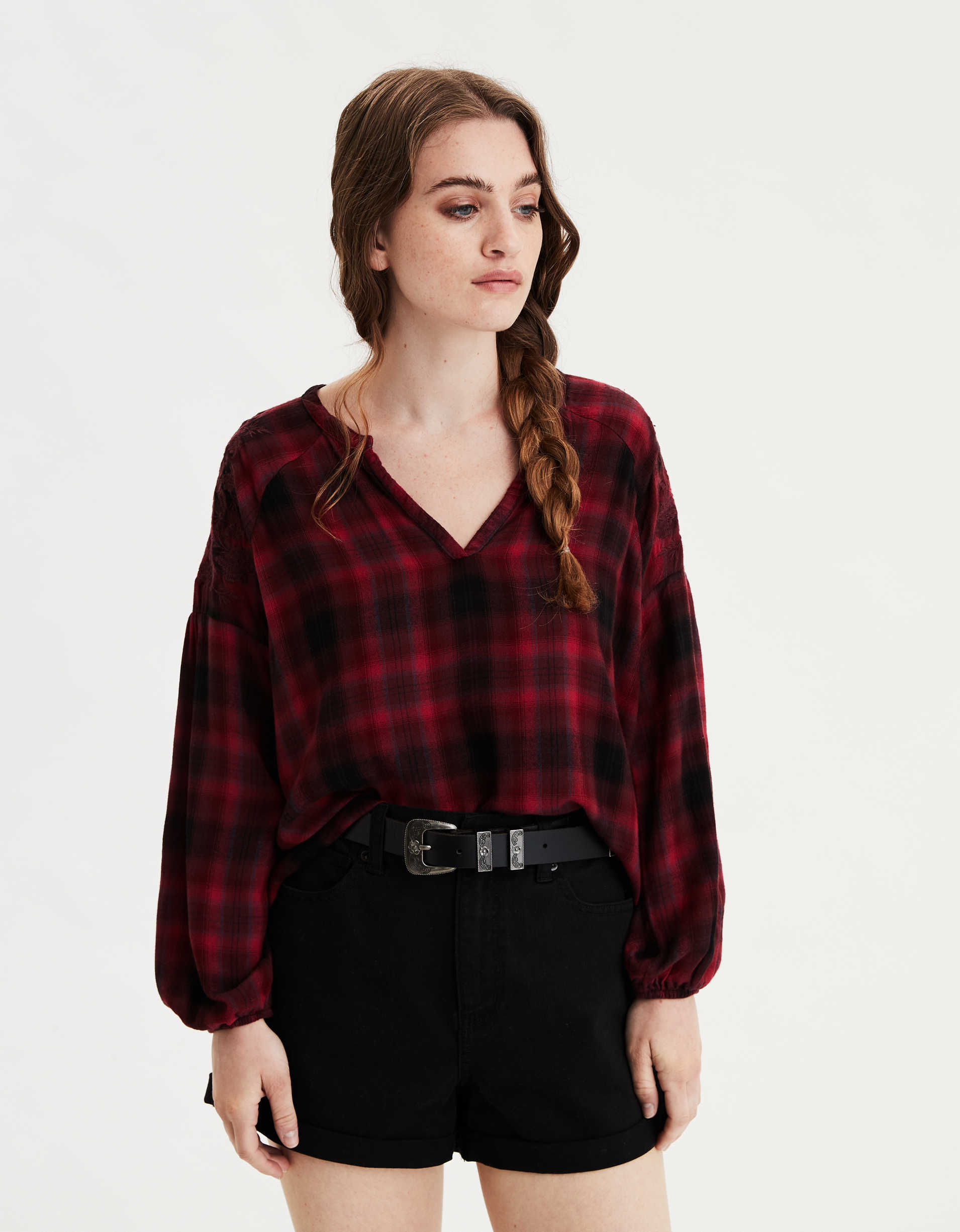 AE Plaid Embroidered Shirt