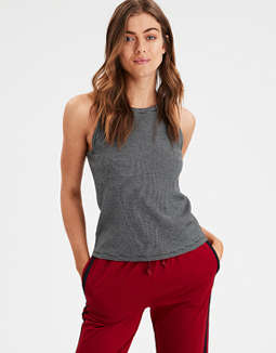 Ae High Neck Striped Tank Top by American Eagle Outfitters