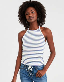AE Striped Halter Top