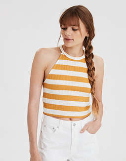 AE Striped High Neck Crop Top