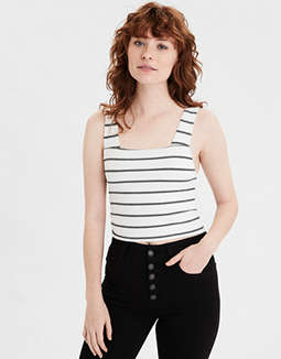AE Striped Square Neck Cropped Tank Top