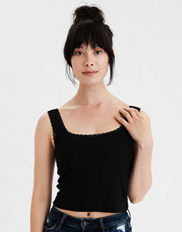 AE Lace Trim Square Neck Tank Top
