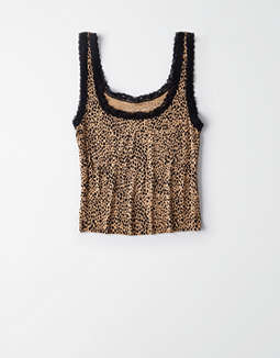 AE Printed Lace Trim Tank Top