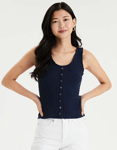 AE Button Front Lace Trim Tank Top