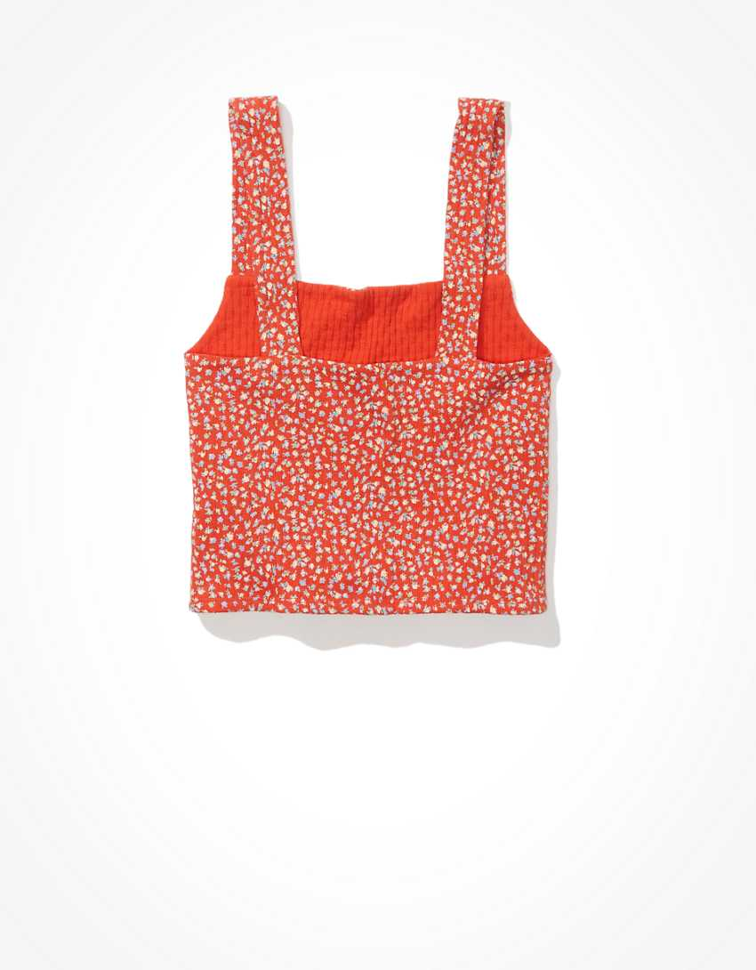 AE Cropped Floral Square-Neck Tank Top