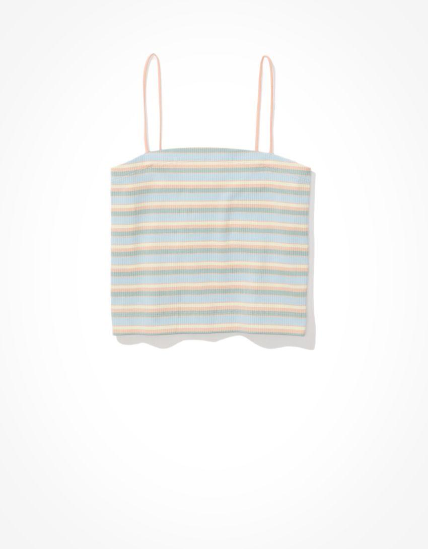AE Striped Bungee-Strap Crop Cami