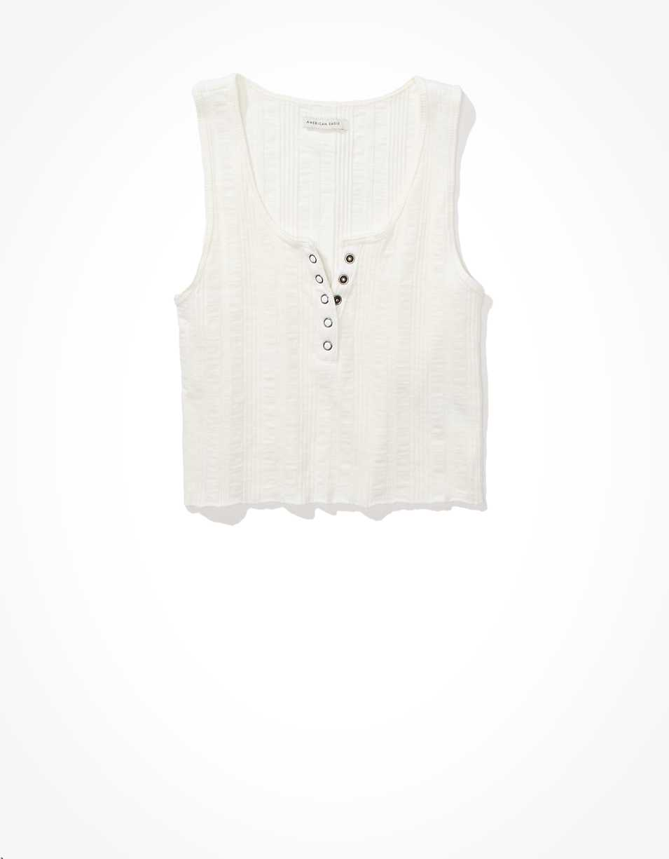 AE Cropped Henley Tank Top