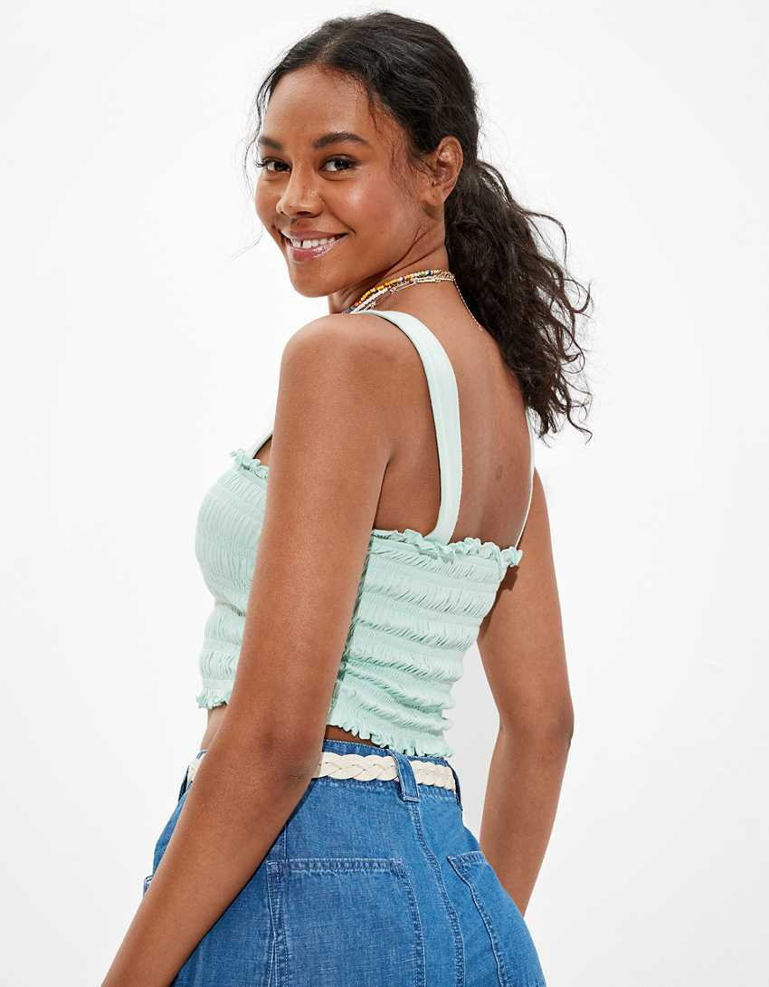AE Cropped Smocked Tank Top