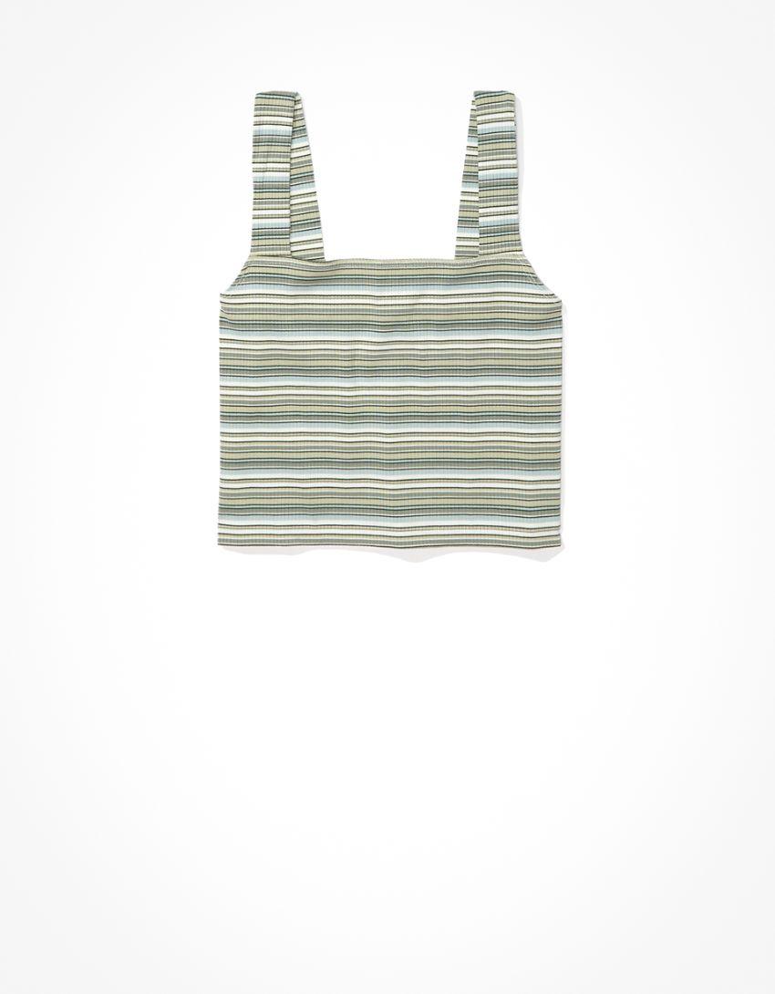 AE Striped Wide-Strap Crop Cami