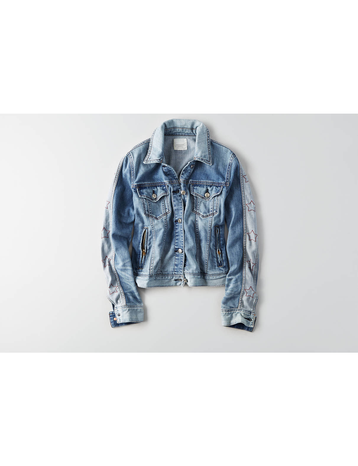 Display product reviews for AEO Star Sleeve Jean Jacket