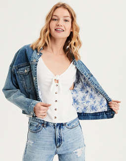 AE Print Lined Boyfriend Denim Jacket
