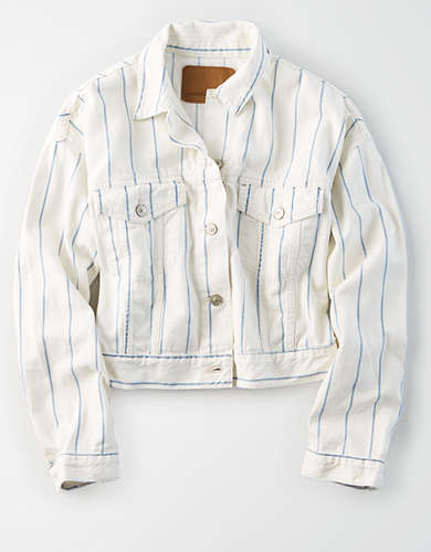 AE Striped Cropped Boyfriend Denim Jacket