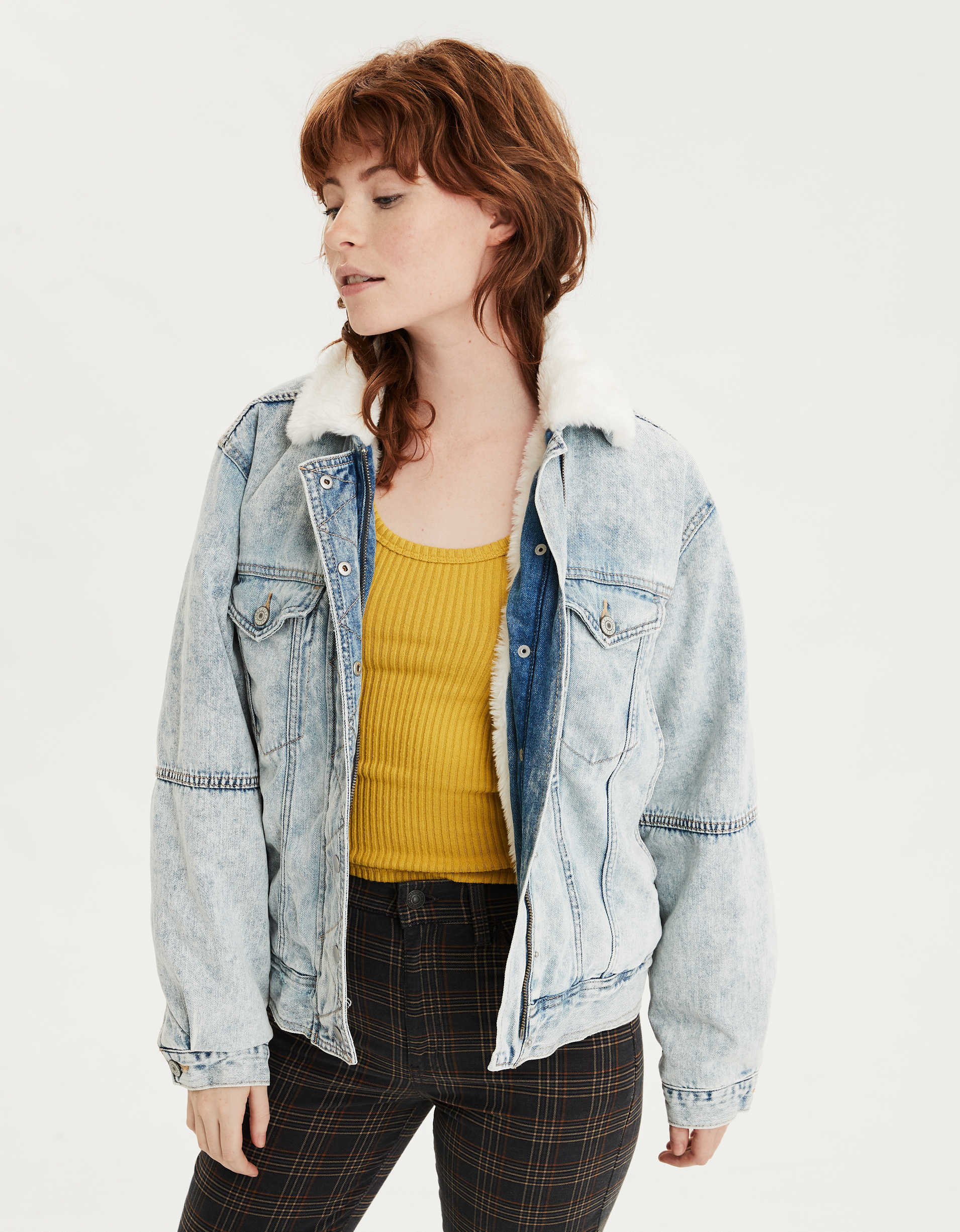 AE Fuzzy Sherpa Lined Denim Jacket