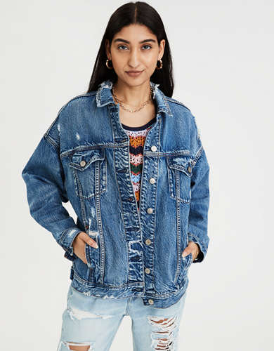 AE Denim Destroyed Boyfriend Jacket
