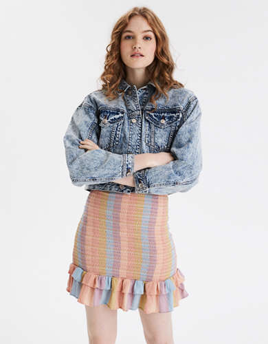 AE Acid Wash Cropped Denim Jacket