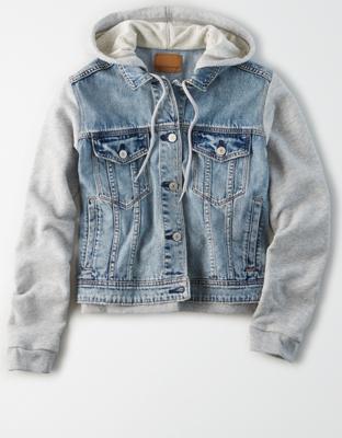 AE Fleece Sleeved Denim Jacket
