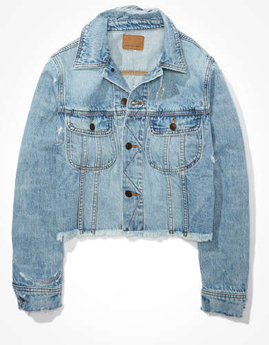AE Denim Cropped Destroyed Boyfriend Jacket