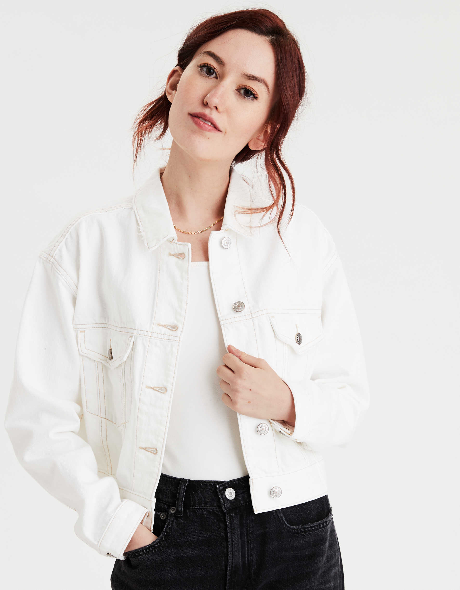AE Cropped White Denim Jacket