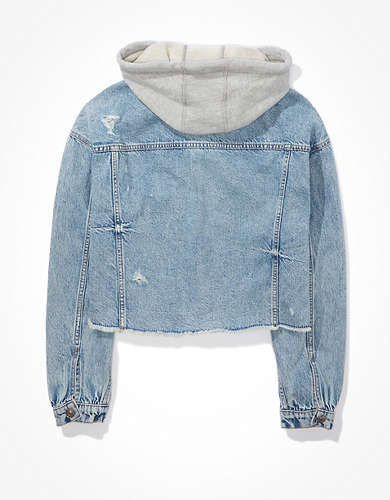 AE Hooded Boyfriend Denim Jacket