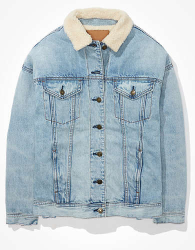 AE Sherpa Lined Boyfriend Denim Jacket
