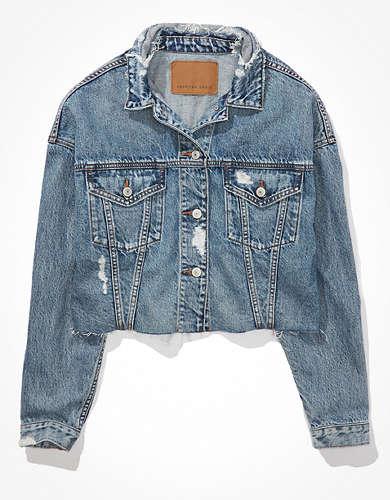 Укороченная джинсовая куртка-бойфренд AE