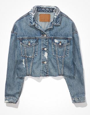 AE Cropped Denim Boyfriend Jacket