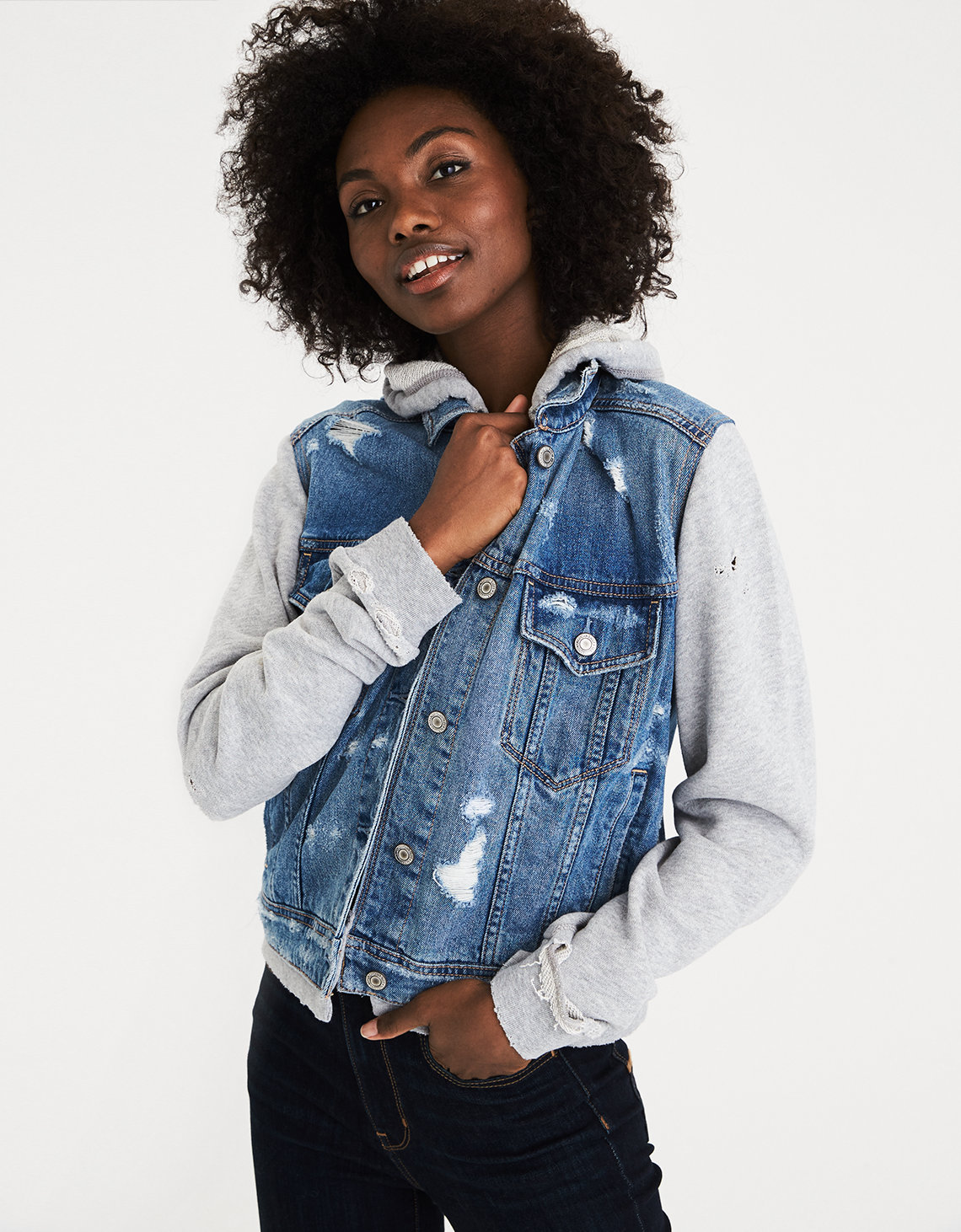 AE Destroyed Hoodie Denim Jacket, Medium Wash | American Eagle ...
