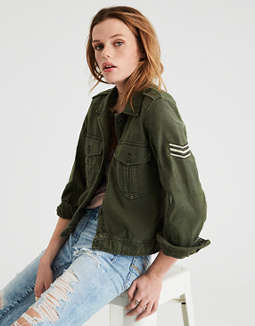 Ae Cropped &Amp; Patched Military Jacket by American Eagle Outfitters