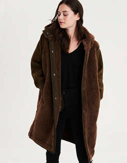 AE Fur Lined Contrast Sleeve Coat