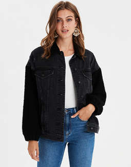Ae Faux Sherpa Boyfriend Denim Jacket by American Eagle Outfitters