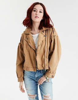 AE Puff Sleeve Moto Jacket