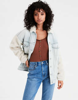 Ae Faux Sherpa Sleeve Denim Jacket by American Eagle Outfitters